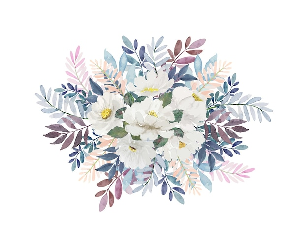Aquarel licht vintage bloemenboeket