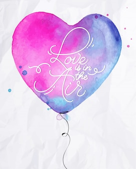 Aquarel liefde luchtballon