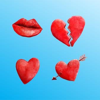 Aquarel liefdeselementen