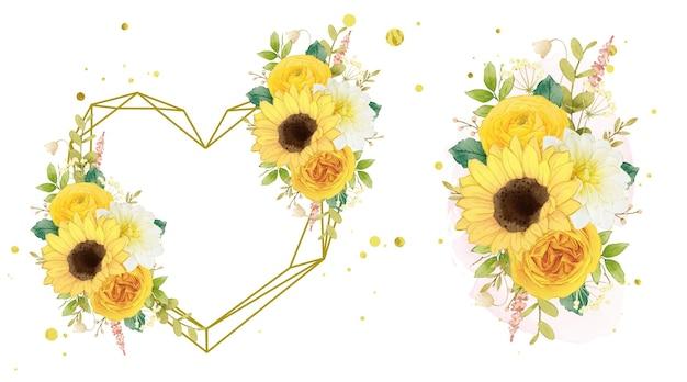 Aquarel liefdeskrans en boeket gele bloemen