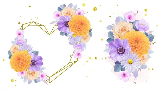 Aquarel liefdeskrans en boeket van paarse en gele bloemen