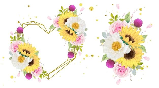 Aquarel liefdeskrans en boeket van roze rozen en zonnebloem