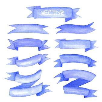 Aquarel linten set. hand getekend