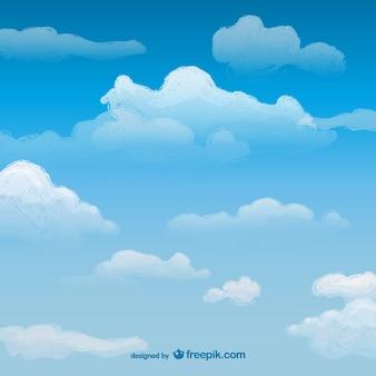 Aquarel lucht met wolken