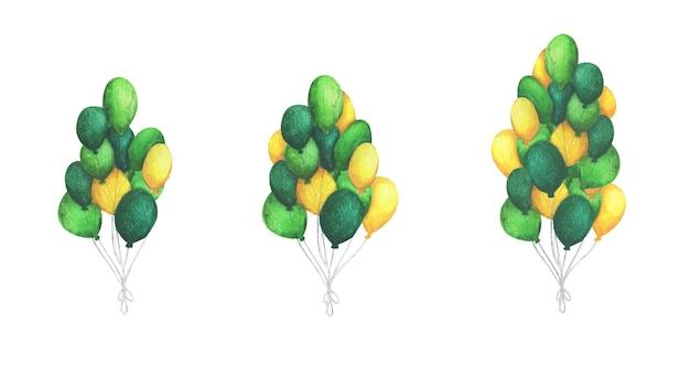 Aquarel luchtballonnen. pak feest groene en gele ballonnen. groet object kunst.