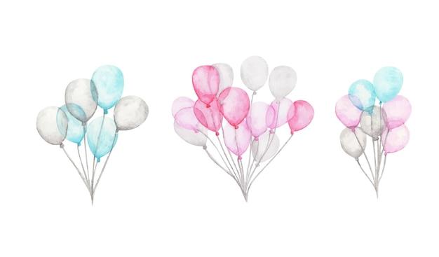 Aquarel luchtballonnen. pak feest roze, blauwe, witte ballonnen. groet decor.