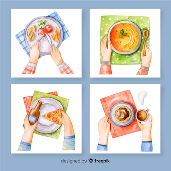 Aquarel maaltijdkaartpakket