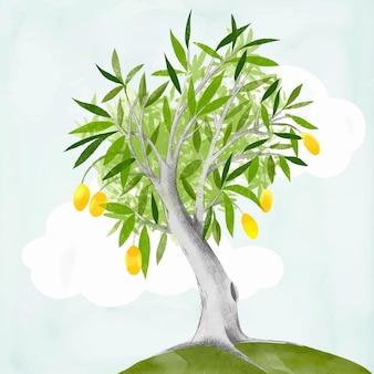 Aquarel mangoboom en lucht