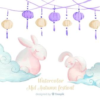 Aquarel medio herfst festival achtergrond