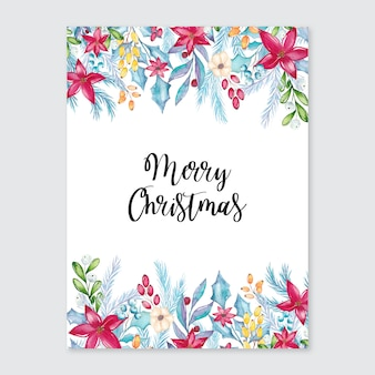 Aquarel merry christmas card met florale decoraties