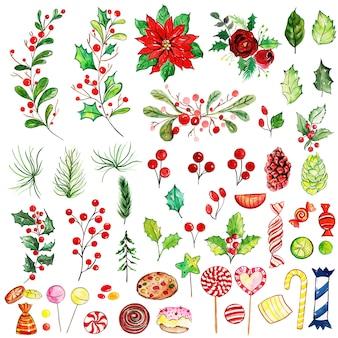 Aquarel merry christmas elementen collectie