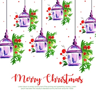 Aquarel merry christmas hangings achtergrond