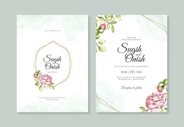 Aquarel met een geometrische lijn voor bruiloft uitnodiging sjablonen