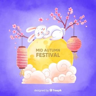 Aquarel midden herfst festival