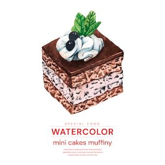 Aquarel mini cakes muffiny
