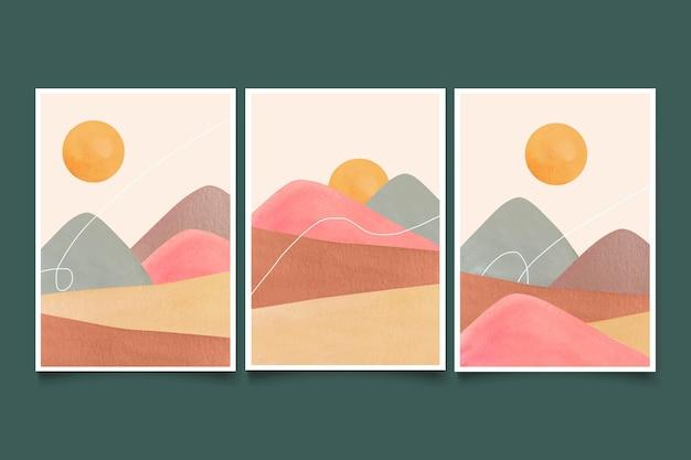 Aquarel minimale landschapsomslagen