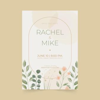 Aquarel minimalistische bruiloft uitnodiging