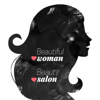 Aquarel mode mooie vrouw silhouet. vector illustratie