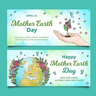 Aquarel moeder aarde dag banner set