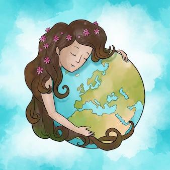 Aquarel moeder aarde dag behang