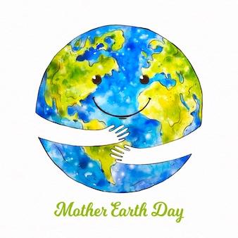 Aquarel moeder aarde dag illustratie