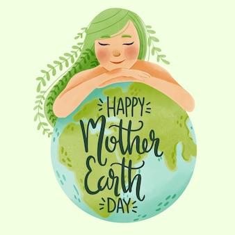 Aquarel moeder aarde dag