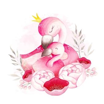 Aquarel moeder en baby flamingo
