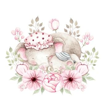 Aquarel moeder en babyolifant met bloemen krans