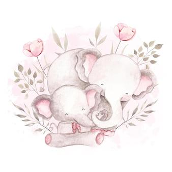 Aquarel moeder en babyolifant slapen op de maan