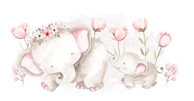 Aquarel moeder en babyolifant