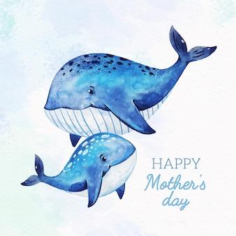 Aquarel moederdag concept