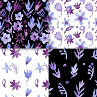 Aquarel monochromatisch bloemmotief collectie