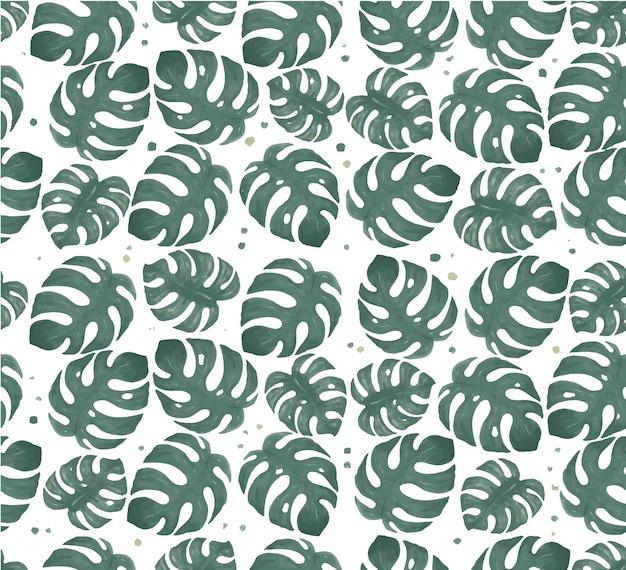 Aquarel monstera blad naadloze patroon illustratie