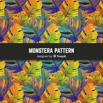 Aquarel monstera verlaat patroon