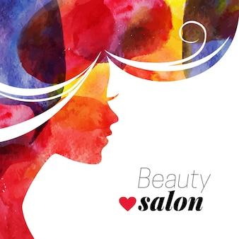 Aquarel mooi meisje. vectorillustratie van vrouw schoonheidssalon