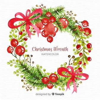 Aquarel mooie kerst krans
