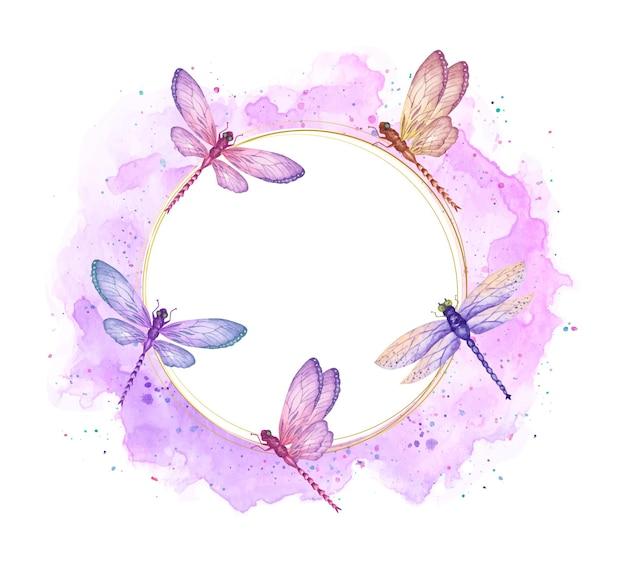 Aquarel mooie kleurrijke vliegende libellen frame