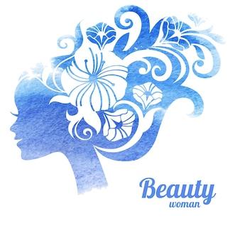 Aquarel mooie vrouw silhouet met bloemen. vector illustratie