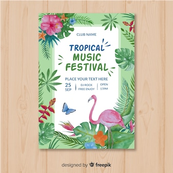 Aquarel muziek festival poster sjabloon