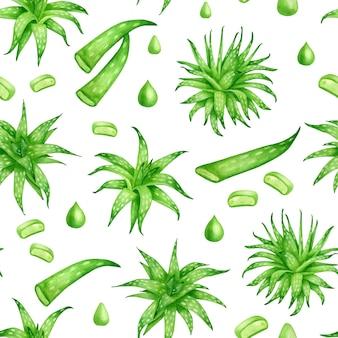 Aquarel naadloos patroon met aloë vera planten bladschijfjes en etherische olie druppels