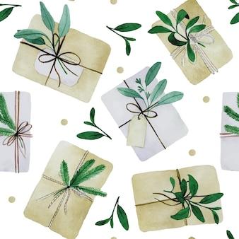 Aquarel naadloos patroon met kerstcadeaus in boho-stijl