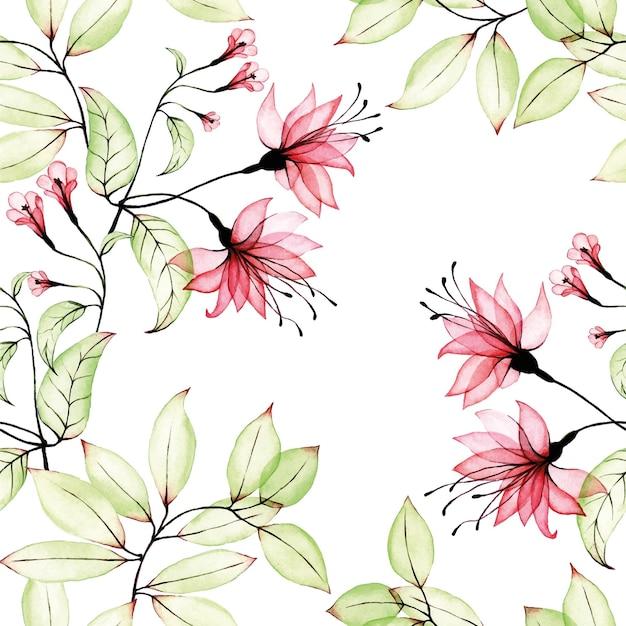 Aquarel naadloos patroon met transparante tropische hibiscus bloemen en bladeren