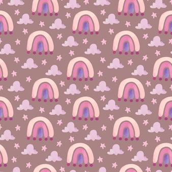 Aquarel naadloos regenboogpatroon met roze wolken en sterren
