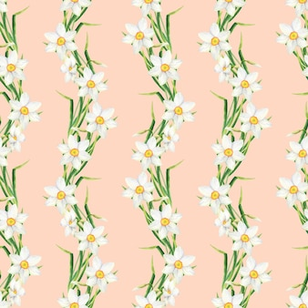Aquarel naadloze bloemmotief met narcissus bloemen