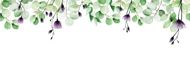 Aquarel naadloze grens frame banner met eucalyptus bladeren en transparante wilde bloemen