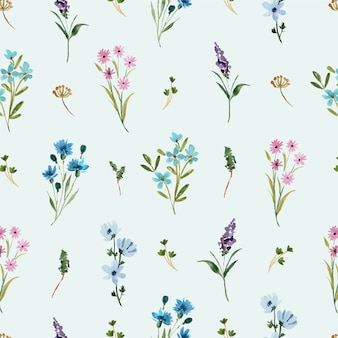 Aquarel naadloze patroon met blauwe en paarse wilde bloemen