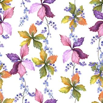Aquarel naadloze patroon met herfstbladeren en wilde druiven.