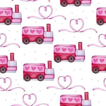 Aquarel naadloze patroon met liefde object, geïsoleerde aquarel valentijn concept element mooie romantische rood-roze harten voor decoratie, illustratie. Gratis Vector