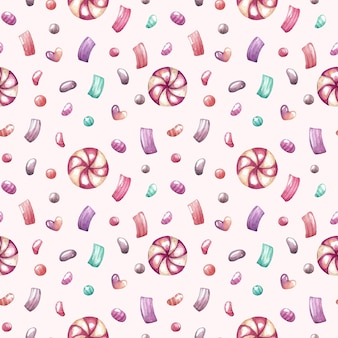 Aquarel naadloze patroon met snoep en confetti
