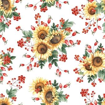 Aquarel naadloze patroon met zonnebloemen en rowan bessen op witte achtergrond.